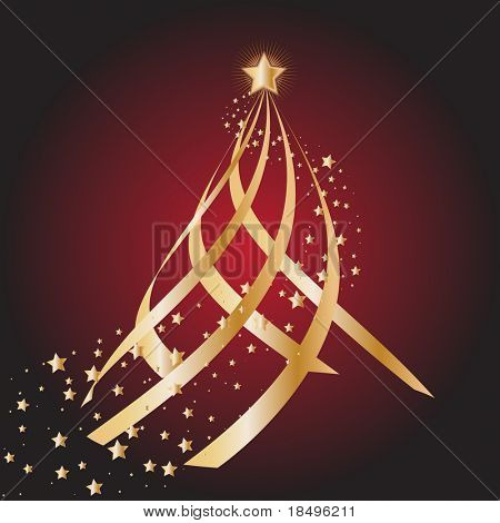 Vector - Gold christmas tree with star circling