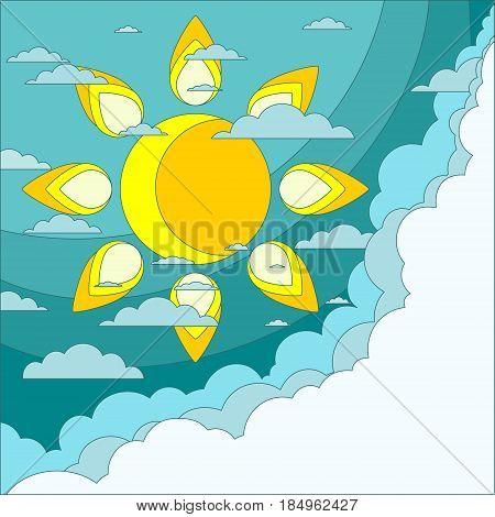 Sun with clouds background. Eps10 . Stock flat vector illustration.