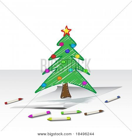 Raster - Illustration of a christmas tree child-like drawing or sketch with crayons