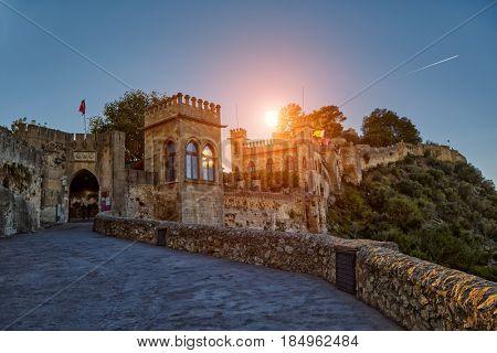 Historical Xativa Castle at Sunset, Valencia Region of Spain
