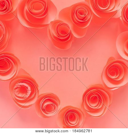 Pink Heart Made Of Paper Flowers