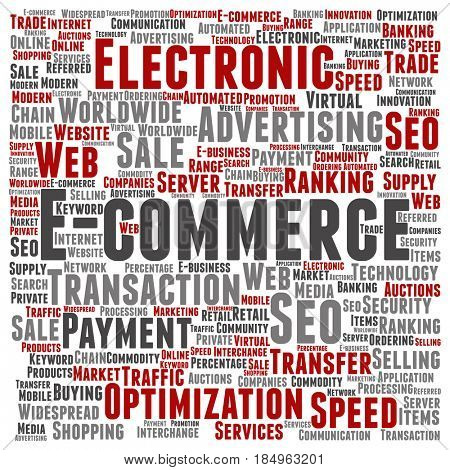 Concept or conceptual E-commerce electronic sale square word cloud isolated background. Collage of seo optimization transaction, web advertising, e-business, technology, worldwide supply text
