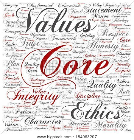 Conceptual core values integrity ethics square concept word cloud isolated background. Collage of honesty quality trust, statement, character, important perseverance, respect trustworthy text