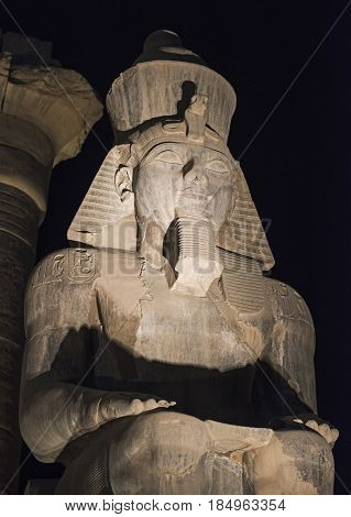 Statue Of Ramses Ii At Luxor Temple At Night