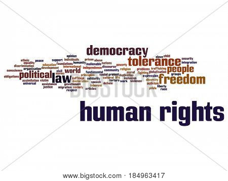 Concept or conceptual human rights political freedom, democracy abstract word cloud isolated background. Collage of humanity world tolerance, law principles, people justice discrimination text