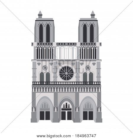 notre dame de paris cathedral icon image vector illustration design