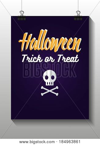 Set of halloween flat icon. Skull and crossbones. Invitation, poster or card for Halloween Night Party. Trick or Treat.