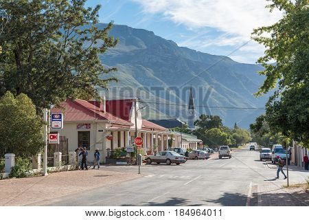GREYTON SOUTH AFRICA - MARCH 27 2017: A street scene with businesses and a church in Greyton a small town in the Western Cape Province of South Africa