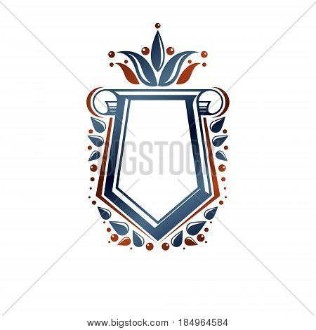 Blank heraldic design with copy space vector vintage protection shield emblem decorated with lily flower and cartouche.
