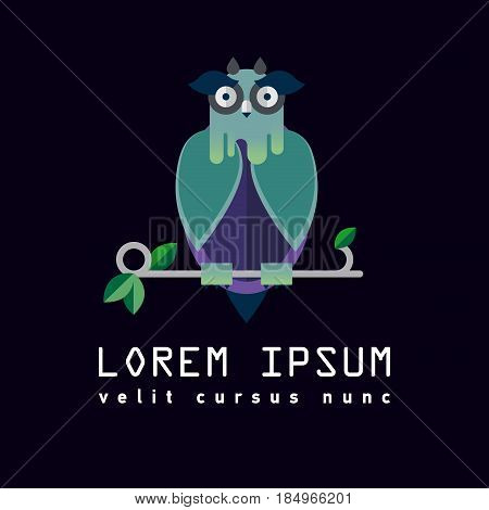 Flat illustration with owl. Background. Halloween character. Hipster bird. Forest dwellers. Symbol of wisdom, knowledge. Logo or icon bird. Nursery for birds, poultry house