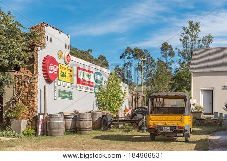 GREYTON SOUTH AFRICA - MARCH 27 2017: A display on the side of a restaurant in Greyton a small town in the Western Cape Province of South Africa