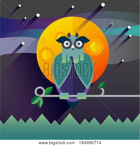 Flat illustration with owl, moon, sky. Background. Mystery night. Halloween character. Hipster bird. Forest dwellers Symbol of owl