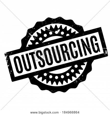Outsourcing rubber stamp. Grunge design with dust scratches. Effects can be easily removed for a clean, crisp look. Color is easily changed.