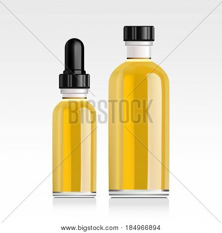 Realistic essential oil bottle. Mock up. Cosmetic vial, flask. Container for perfume. Medical bank. Cosmetic dropper-bottle for serum. Label, sticker
