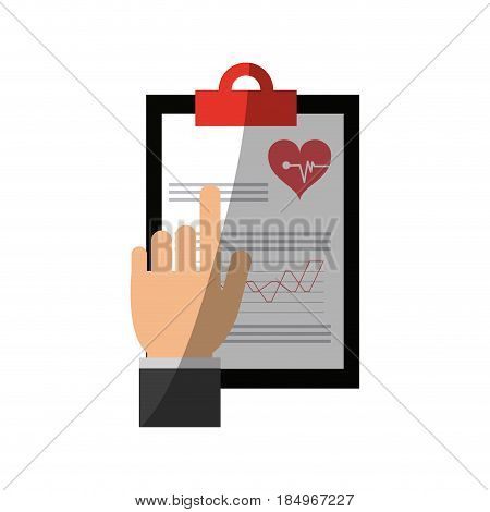 hand pointing medical history on clipboard healthcare icon image vector illustration design