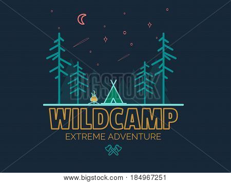 Stay Wild Camping Child , Hand Drawn t Shirt Print, camping and adventure forest badge logo, emblem logo, label design. Vector illustration