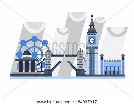 Great Britain. England. London panorama. Landscape with landmarks. Tower Bridge, Big Ben Clock, Tower, London Eye, Trafalgar Square Rainy weather