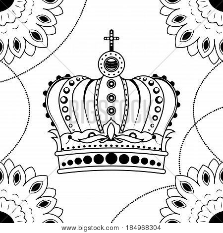 Line art hand drawing black crown isolated on white background. Dudling style. Tatoo. Zenart. Coloring for adults. Vector illustration.
