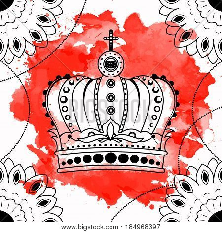 Line art hand drawing black crown isolated on white background with red watercolor blots. Dudling style. Tatoo. Zenart. Coloring for adults. Vector illustration.