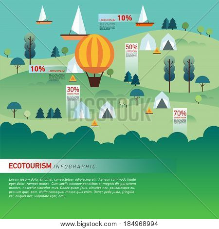 Landscape Infographics. Lake and Hills Hiking Route. Ecotourism. Flat illustration. nature and outdoor, park, garden. Ecology structure. Green energy