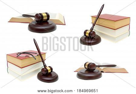 Wooden judge hammer and book on white background. Horizontal photo.
