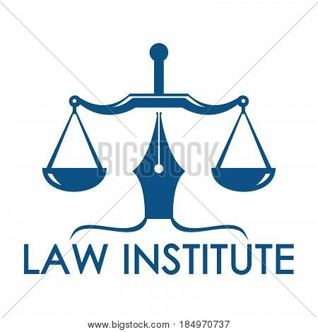 Law and justice logo. Scales of justice logo. Court of law symbol.