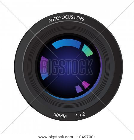 Vector - Illustration of a 50mm camera lens from the front element showing various reflected colors