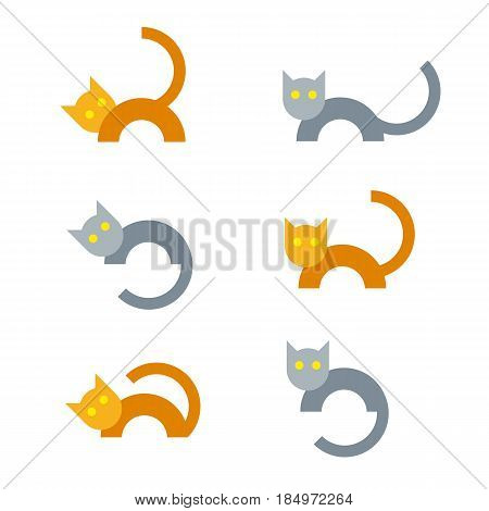 Set of gray and orange cats in different poses. Simple flat animal icons.Funny pets symbols isolated on white background.
