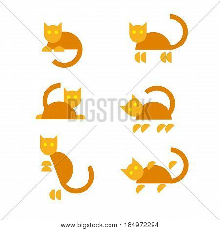 Set of funny orange cats in different poses. Simple flat animal icons. Pets symbols isolated on white background.