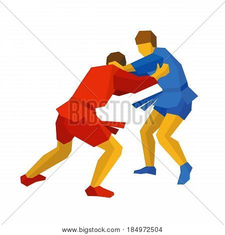 Two sambo fighters in blue and red uniform. Martial arts competition - sambo, judo, karate, jiu jitsu, wrestling. Flat style vector clip art isolated on white background