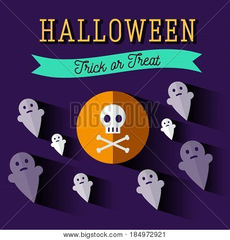Halloween flat icons.Ghost, soul, spirit. Invitation, poster or card for Halloween Night Party. Trick or Treat. Poltargeist