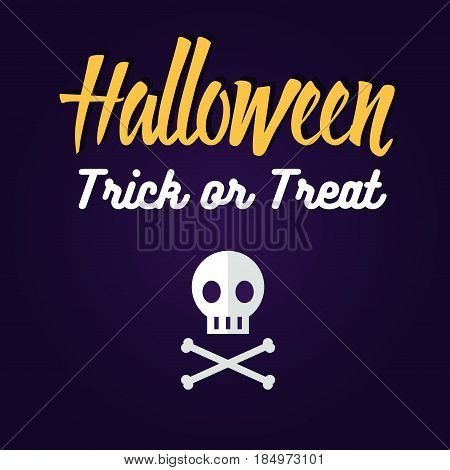 Set of halloween flat icons. Skull and crossbones. Invitation, poster or card for Halloween Night Party. Trick or Treat.