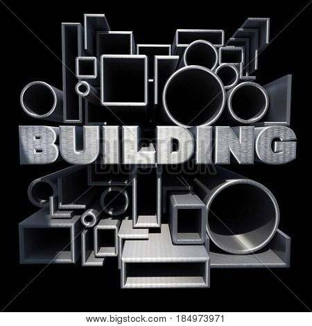 3D rendering of the word building surrounded by metallic pipes and tubes in different shapes