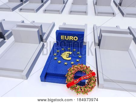 Cemetery with tombstone for the Euro with a funeral wreath 3D rendering