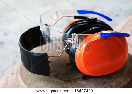 safety glasses and ear guard use for work