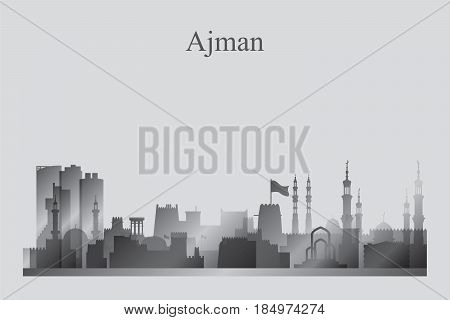 Ajman City Skyline Silhouette In Grayscale