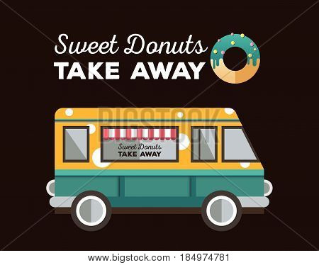 Flat van and donut. Truck with dessert. Van food. Bakery delivery. Food truck logo