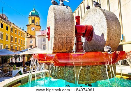 Rijeka Square And Fountain View With Clock Tower Gate