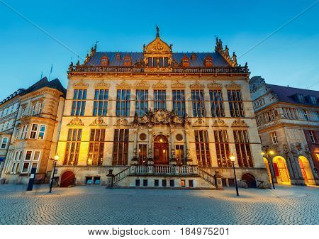 Old medieval market square in the historic part of the city. Chamber of Commerce. Bremen. Germany. Bavaria.