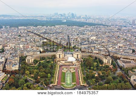Panoramic view on paris city, trocadero square, from the top of eiffel tower, france