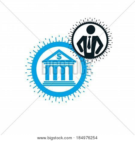 Banking conceptual logo unique vector symbol. Banking system. The banker successful businessman.