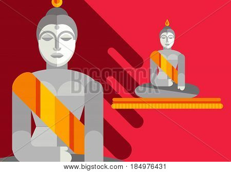 Statue of sitting Buddha. Flat illustration. Religion symbol. Asian sculpture. Meditate. Cultural landmark