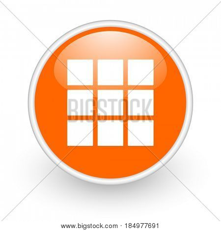 Thumbnails grid modern design glossy orange web icon on white background.