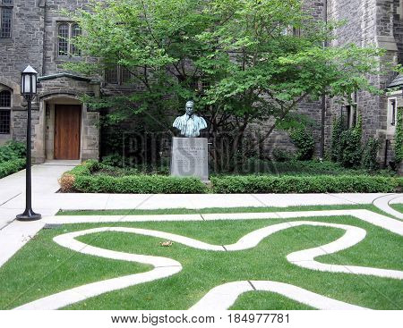 Bust of Johannes Strachan Fundator of the Trinity College at University of Toronto in Toronto Ontario Canada