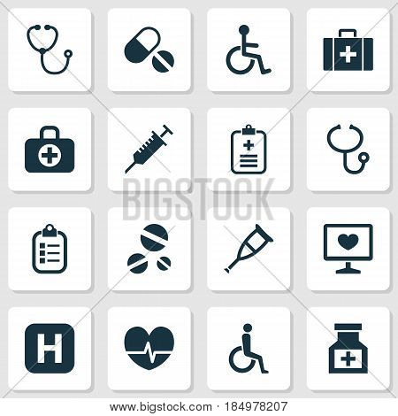 Drug Icons Set. Collection Of Chest, Handicapped, Analyzes Elements. Also Includes Symbols Such As Invalid, Diagnosis, Nurse.