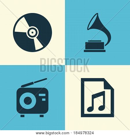 Audio Icons Set. Collection Of Phonograph, File, Cd And Other Elements. Also Includes Symbols Such As Fm, Radio, Note.