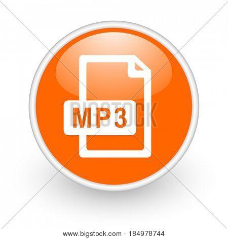 Mp3 file modern design glossy orange web icon on white background.