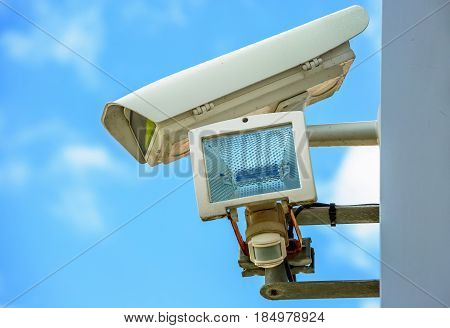 Cctv Security Camera And Urban Video. Closeup View.