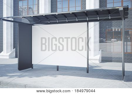 Side view of modern glass bus stop with empty poster. Advertisement concept. Mock up 3D Rendering