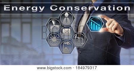Blue chip facility manager is initiating Energy Conservation. Industry and business concept for reduction of energy consumption lowering of energy cost and increase in environmental quality.